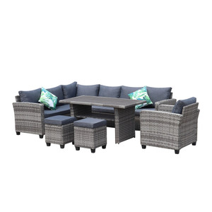 6-piece Outdoor Patio Wicker L-Shaped Sectional Sofa Set