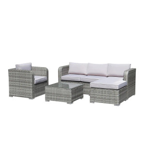 Modern Grey 4-Piece Outdoor Sectional Sofa Set with Cushion