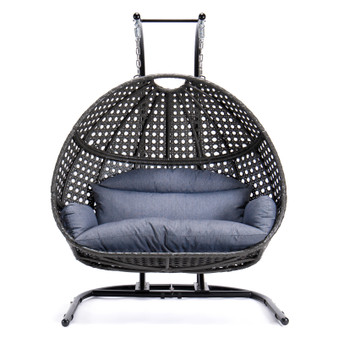 Brown Wicker Double Seat Patio Swing Chair with Dust Blue Cushion and Cover