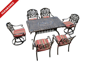 7-Piece Aluminum Garden Dining Sets with Tulip Pattern (Without Cushions) (Defective)