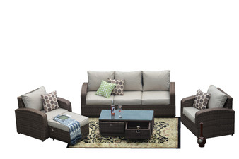 Direct Wicker Brown 5pc Patio Garden Furniture Sofa Set Sectional (Single Item Included)