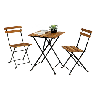 3-Piece Solid Teak Wood Bistro Set Folding Table And Chair Set with Waterproof Navy Cushions