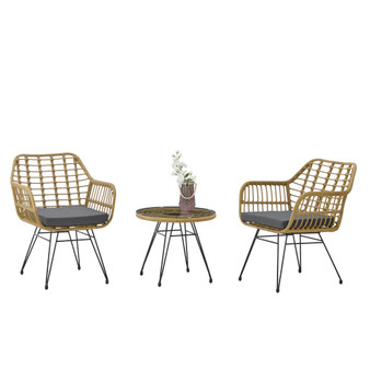 3-Piece Yellow Modern Rattan Bistro Set with Gray Cushions