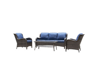 4-Piece Metal Frame Gray Wicker Patio Conversation Set With Blue Olefin/Gray Olefin Cushions