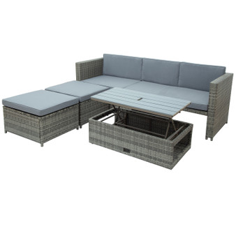 4-Piece Outdoor Gray Rattan Sectional Furniture Set with Retractable Table and Gray Cushions