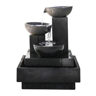 Elegant Brown Polyresin Outdoor 5-Tier Fountain