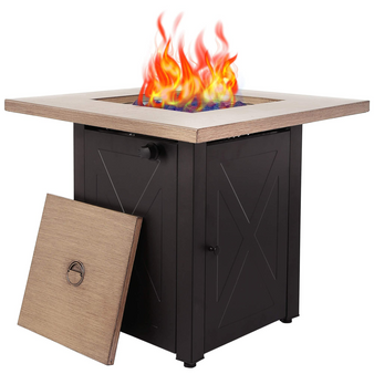 Direct Wicker 28 Inch Outdoor Square  Propane Gas Fire Pit Table with Bionic Wood Grain Lid