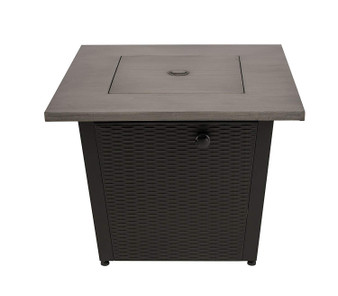Direct Wicker 32 Inch Outdoor Square Steel Propane Fire Pits Table with Gray Wood Grain Table Top with Lid