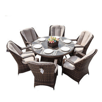 Direct Wicker Cinderella Brown Wicker 7 Pieces Round Table Patio Dining Set  (Single Item Included)