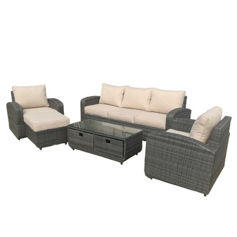 Direct Wicker Gray 5pc Patio Garden Furniture Sofa Set Sectional (Single Item Included)