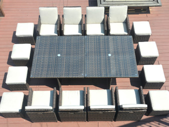 Direct Wicker 18 Pieces Wicker Patio Dining Set with Beige Cushions