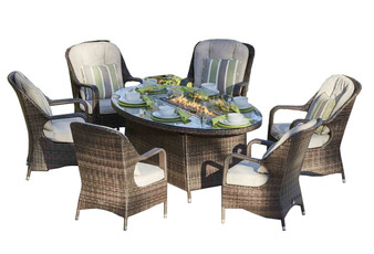 Direct Wicker 6 Seat Oval  Fire Pit Dining Table With Eton Chair
