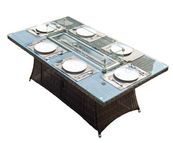 Direct Wicker 6 Seat Rectangular Fire Pit Dining Table(TABLE ONLY)