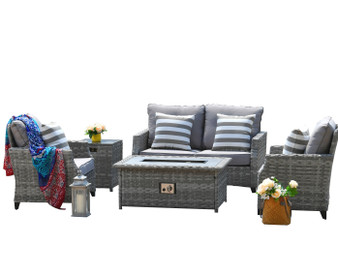 Direct Wicker Sofa Set With Fire Pit Coffee Table (Single Items Included)