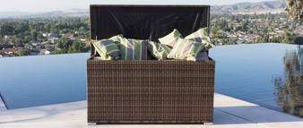 Direct Wicker  Patio Deck Box Outdoor Storage Decorative Wicker Garden Furniture Rattan Container Cabinet