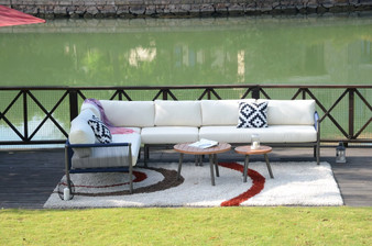 Outdoor Club Chairs, Steel and Rope, Cushioned, Boho