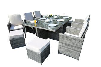 11-Piece Outdoor Patio Dining Set Metal Rattan Wicker Furniture Garden Cushioned