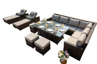 11-piece New Fashion Wicker 2 Chaise Lounge 1 Gas Fire Rectangle Table Patio 9 Seat Chairs