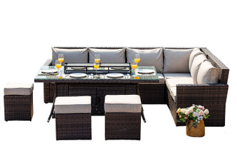 New Fashion Gas Fire Rectangle Table Patio 9 Seat Chairs and Cushions by Direct Wicker(without Barbecue plate)