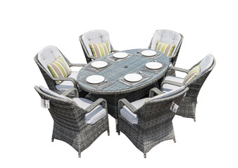 Grey Rattan 7-piece Patio Furniture Table Chairs Set