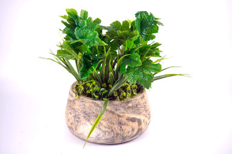 Artificial Greenery Fake Plants with Wood Box for Home,Garden