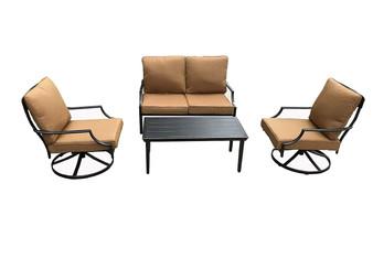 Direct Wicker Outdoor Patio Dinning Swivel Chairs Rocker Set of 2 Iron for Garden Backyard Furniture, Yellow Cushions