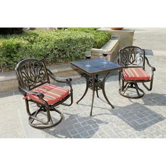 3-Piece All-Weather Alum Casting Garden Set Swivel Chairs