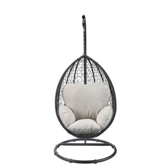 Patio Swing Chair with Stand in Beige Fabric & Black Wicker