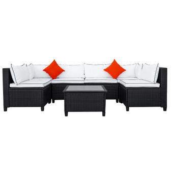 U-Shape Sectional Outdoor Furniture Set with Cushions and Accent Pillows, Green/White&Red