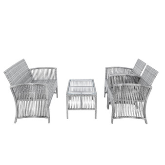 8 Pieces Outdoor Furniture Rattan Chair & Table Patio Set Outdoor Sofa for Garden, Backyard, Porch and Poolside( Sef of 2,4pcs/set)