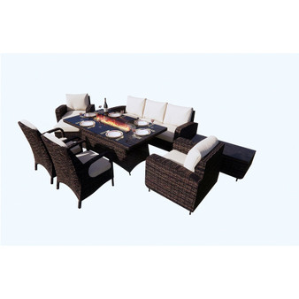 DW Patio Wicker Fire Pit Dining Table with Sofa Set(without Barbecue plate)