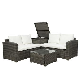 4 PCS Outdoor Cushioned PE Rattan Wicker Sectional Sofa Set Garden Patio Furniture Set (Beige Cushion)