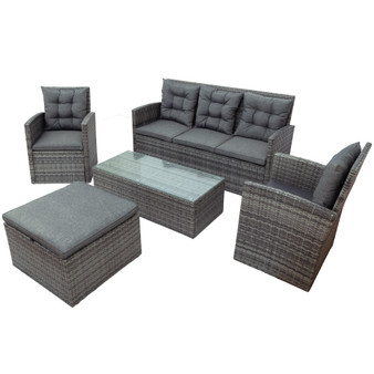 5-piece Outdoor UV-proof Patio Sofa Set with Storage Bench All Weather PE Wicker Furniture Coversation Set with Glass Table, Gray