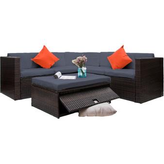 4 Piece Cushioned Outdoor Patio PE Rattan Furniture Set Sectional Garden Sofa (Brown wicker + Grey cushion)