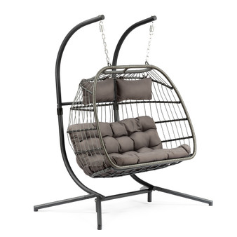 2 Person X-Large Double Swing Chair Wicker Hanging Egg Chair