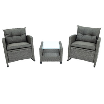 3 Piece Rocking Patio Furniture Set, Wicker Rattan Outdoor Set with Cushions and Glass-Top Coffee Table for Garden Backyard