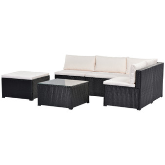 6-Piece Outdoor Furniture Set with PE Rattan Wicker, Patio Garden Sectional Sofa Chair, removable cushions (Black wicker, Beige cushion