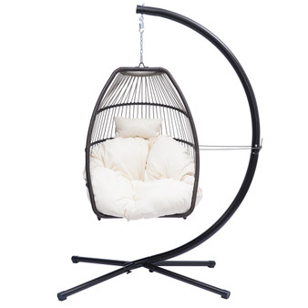 Outdoor Patio Wicker folding Hanging Chair,Rattan Swing Hammock Egg Chair with C Type bracket , with cushion and pillow,Beige