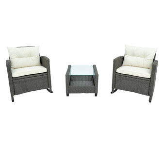 3-Piece Rocking Patio Furniture Set, Wicker Rattan Set with Cushions and Glass-Top Coffee Table for Garden Backyard