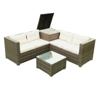 4 Piece Patio Sectional Wicker Rattan Outdoor Furniture Sofa Set with Storage Box - Creme