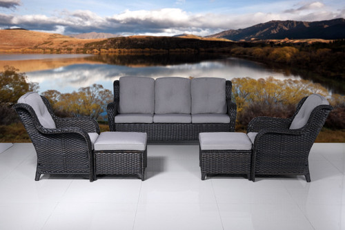 Irene Brown 5-Piece Wicker Patio Conversation Seating Set with Gray Cushions