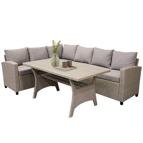 3-Pieces Brown Wicker Sectional Sofa Set with Rectangle Dining Table and Brown Cushions
