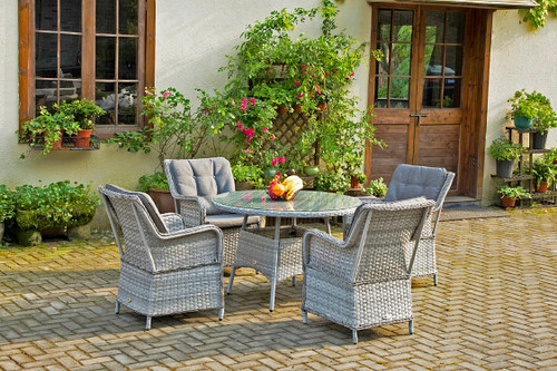 Gray 5-Piece Wicker Outdoor Dining Set with Gray Cushions