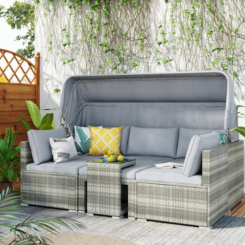 5 Piece Functional Outdoor Sectional Patio Rattan Daybed  Set with Canopy and Tempered Glass Side Table