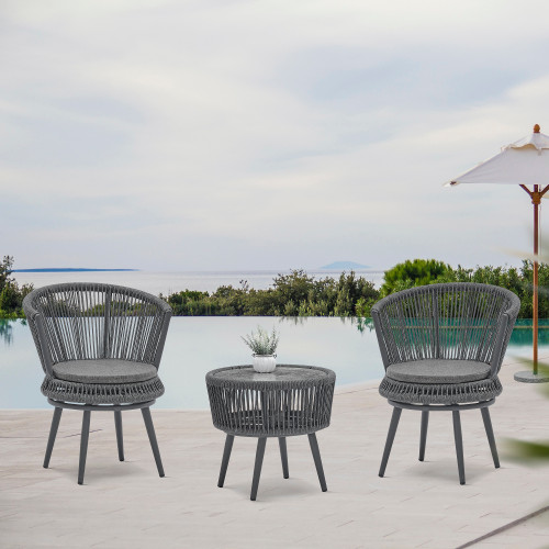 3-Piece Dark Gray  woven-belt rope wicker Bistro Set with Swivel Rope Chairs and Coffee Table