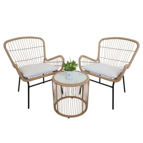 3-Piece Outdoor & Indoor Beige PE Rattan Bistro Set with Beige Cushions - Type B