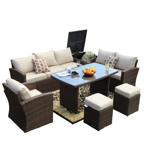 7-Piece Wicker Outdoor Conversational Sofa Set with Cushions (UK Customer Only)