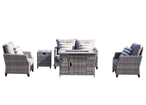 5-Piece Patio Gray Wicker Sectional Sofa with Gas Fire Pit Table and Gray Cushions (UK Customer Only)