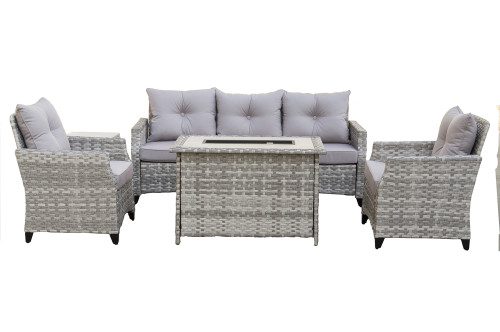 5-Piece Patio Gray Wicker Sectional Sofa with Gas Fire Pit Table and Cushions (UK Customer Only)