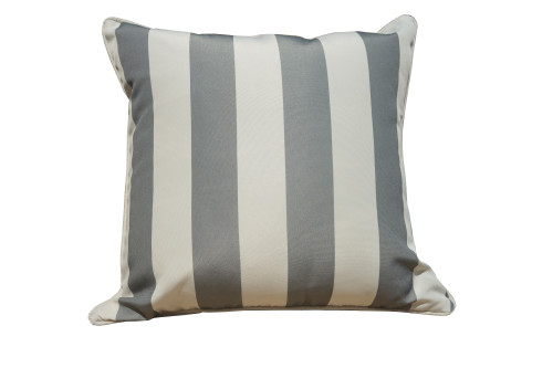 Direct Wicker  21 in. x 12 in. Gray Strip Outdoor Bolster Throw Pillow Case (UK Customer Only)
